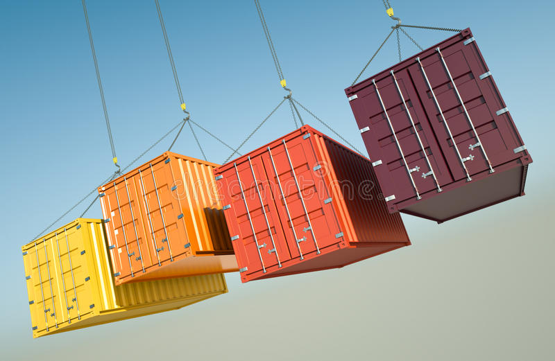 Shipping Containers. Four shipping containers during transport. 3D rendered image stock illustration