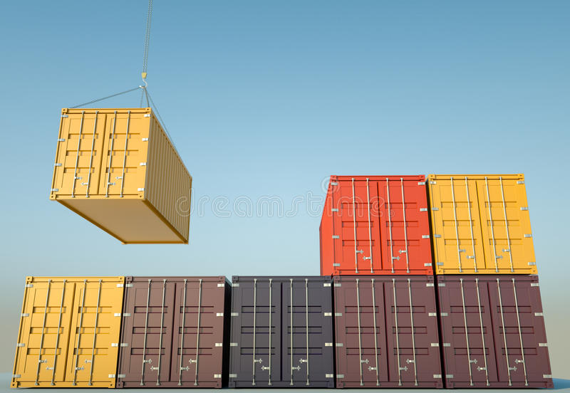 Shipping Containers. Cargo containers. 3D rendered image stock illustration