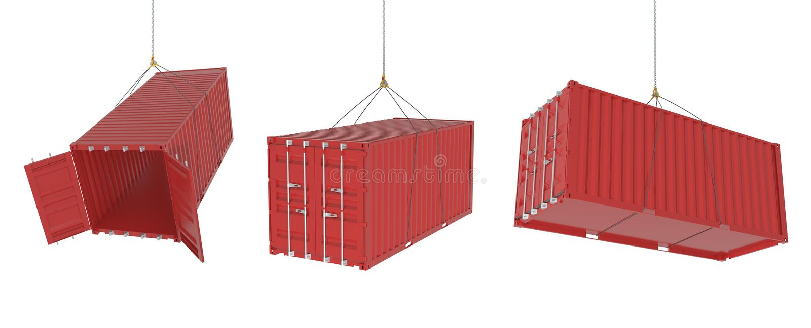 Shipping containers in different positions - red. Set of metal freight shipping containers on the hooks in different possitions, red colour - photorealistic 3d vector illustration