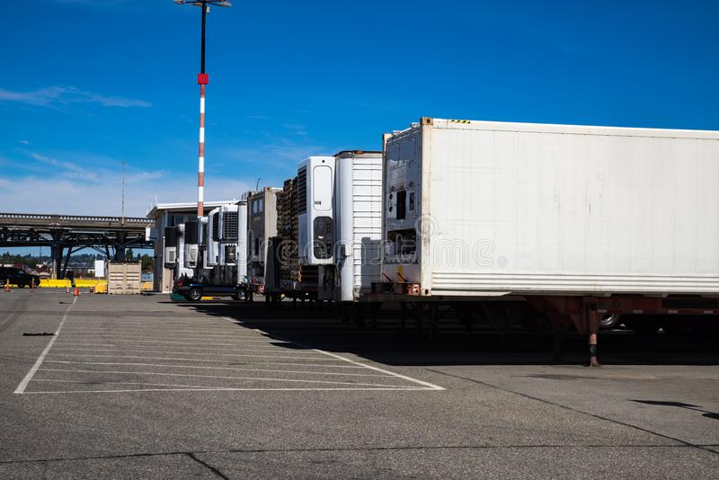 Shipping containers waiting to be delivered to customers stock photography