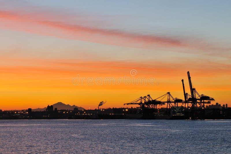 Download Shipping Crane And Mt. Baker At Dawn Stock Image - Image: 8028871