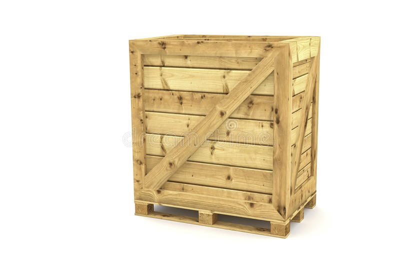Shipping crate. International Shipping wood crate on white background royalty free stock photography