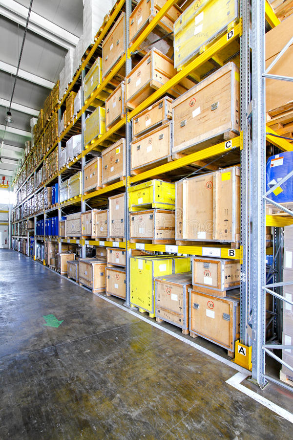 Shipping crates. Wooden crates for shipping in museum warehouse stock photos