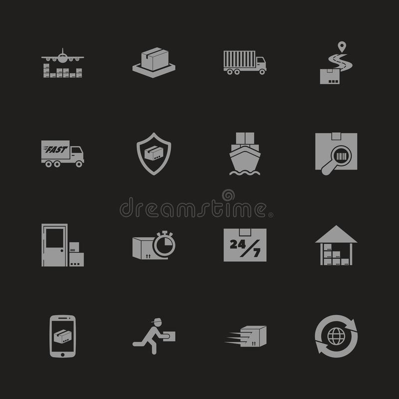 Shipping And Delivery Vector Icons Set On Gray. Stock