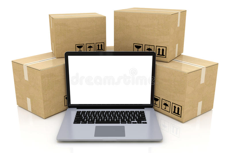 Shipping, delivery and logistics technology business industrial. Concept: heap of stacked corrugated cardboard package boxes and laptop with blank screen vector illustration
