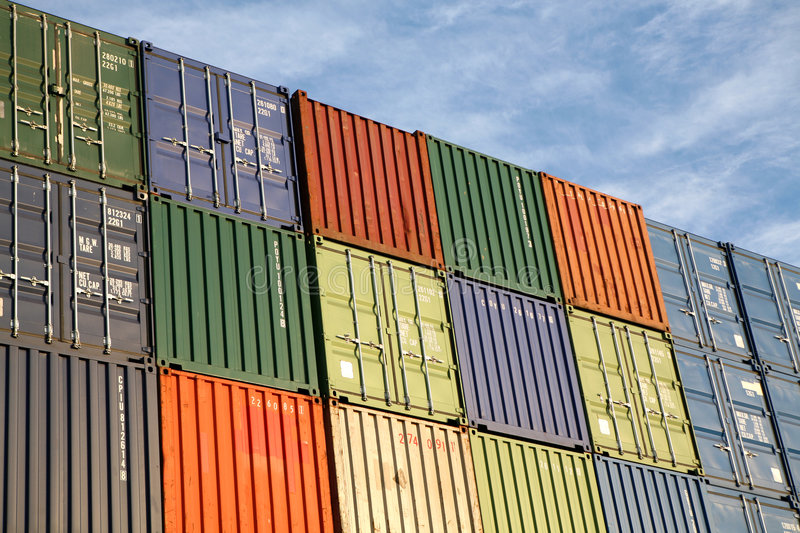 Shipping Export Freight Containers stock photo
