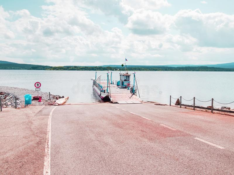 Shipping on Ferry Boat Ship with open Ramp and empty Car. Deck. Wooden board for cars and passenger, arrival, cruise, day, fast, harbor, harbour, heavy, hold royalty free stock photos