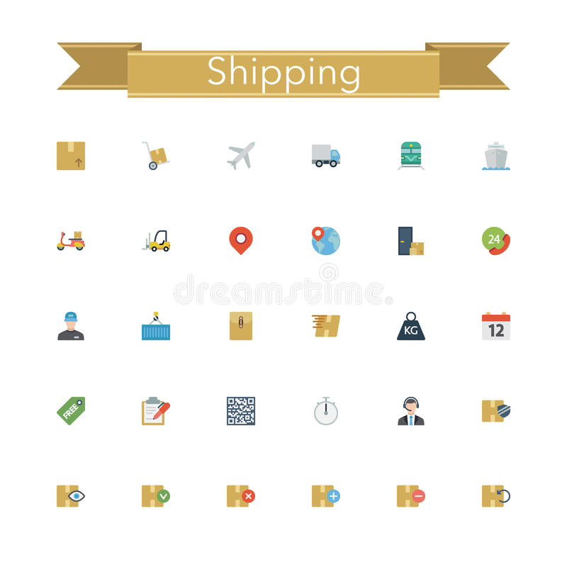 Shipping Flat Icons vector illustration