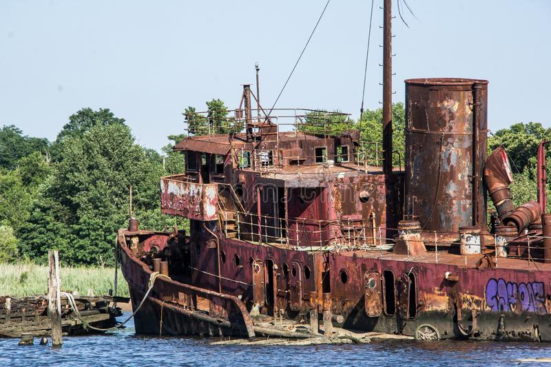 A Shipping Graveyard royalty free stock images