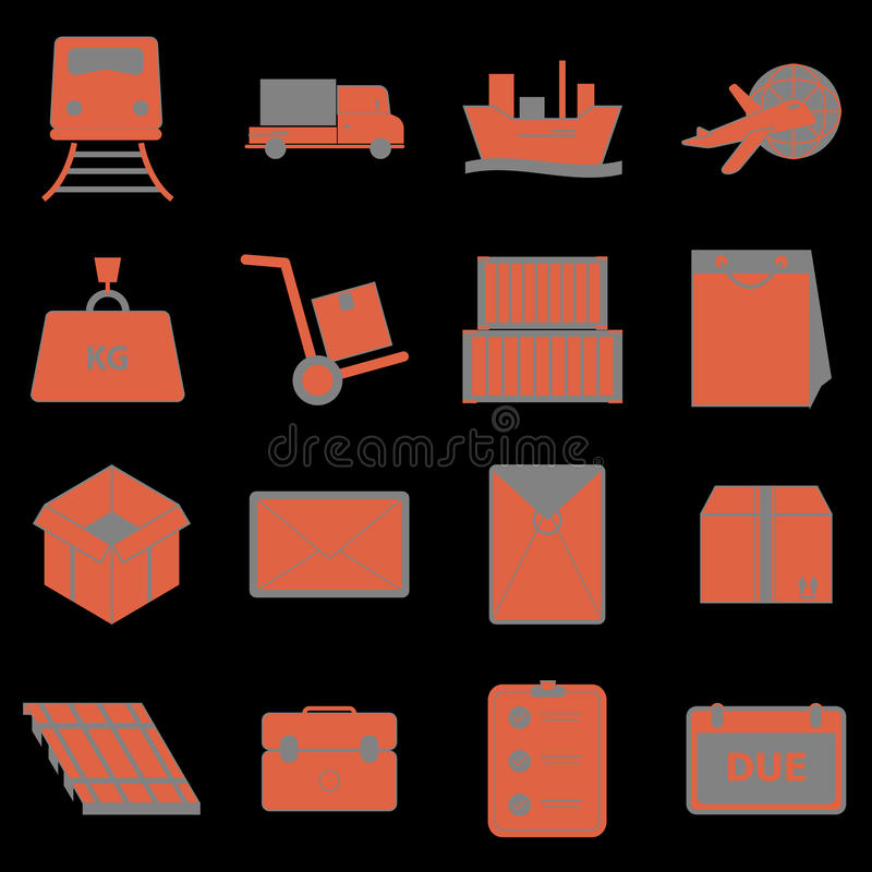 Download Shipping Icons On Black Background Stock Vector - Image: 35745200