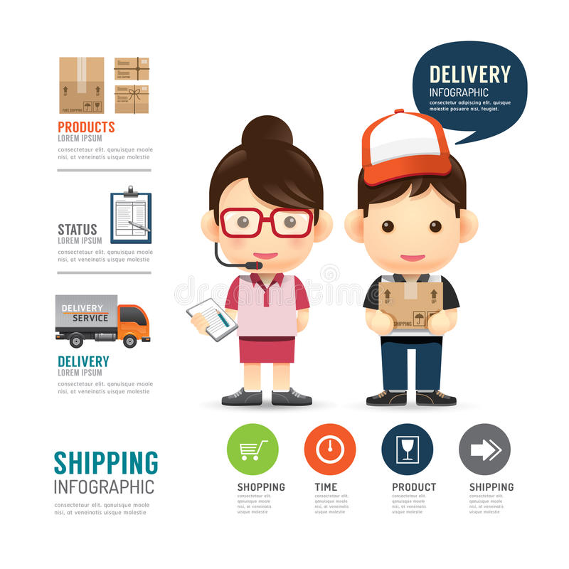 Shipping infographic with people delivery service design,work jo stock illustration