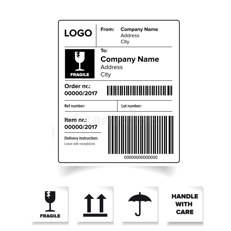 Shipping Label Barcode Template Stock Vector - Illustration of stamp ...
