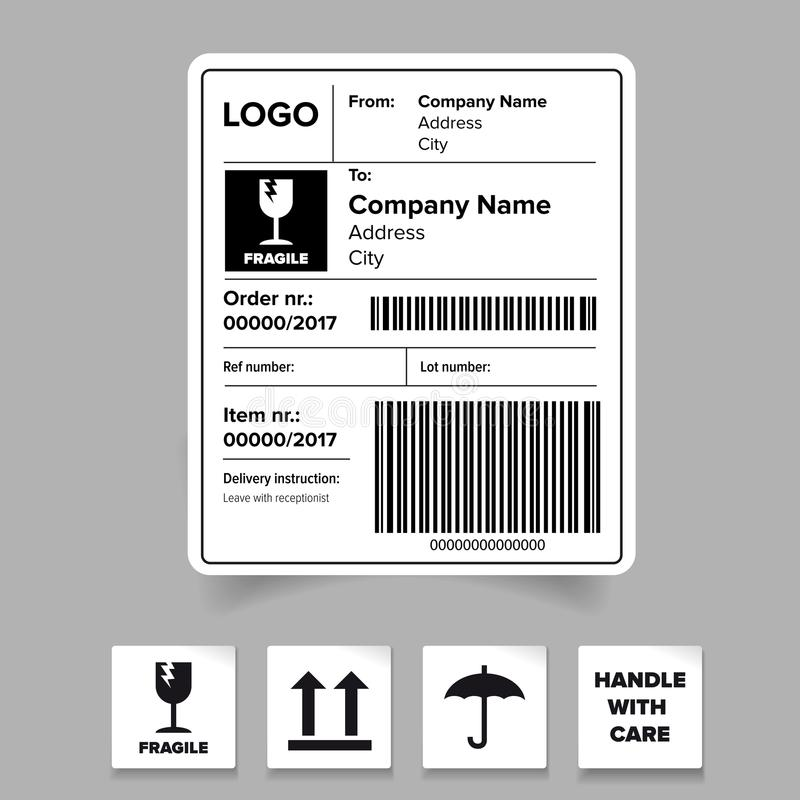shipping label barcode template stock vector illustration of barcode shipping 99813230. Black Bedroom Furniture Sets. Home Design Ideas