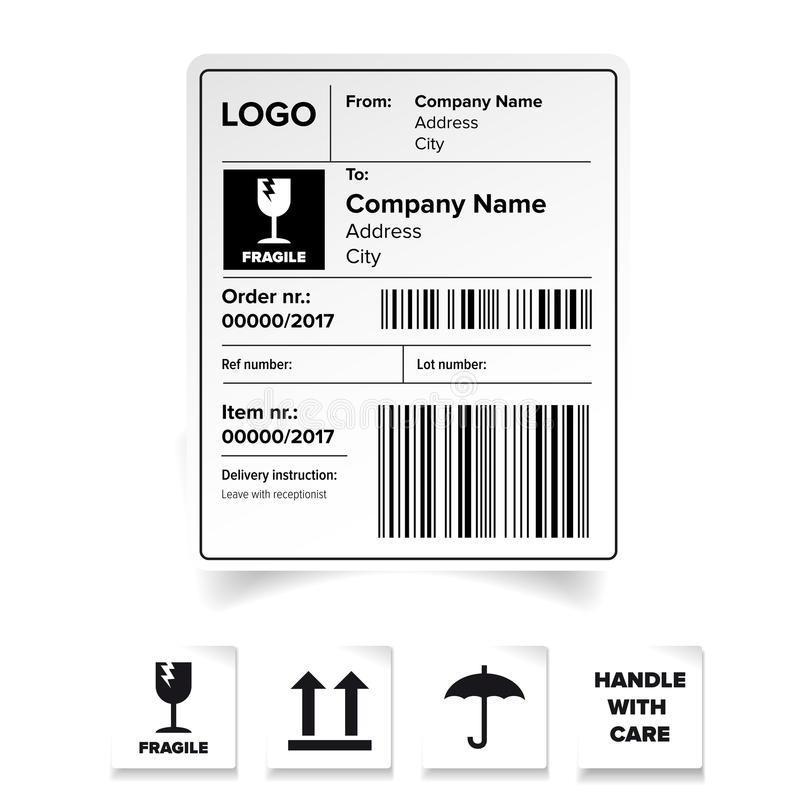 Shipping label template stock vector. Illustration of white - 91003991