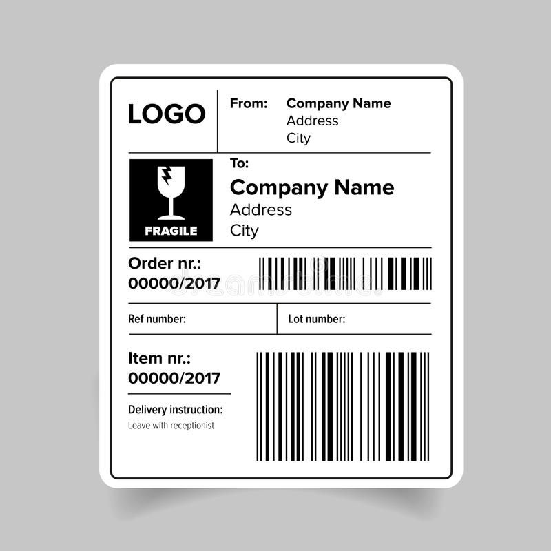Shipping Label Template Stock Vector Illustration Of Crate