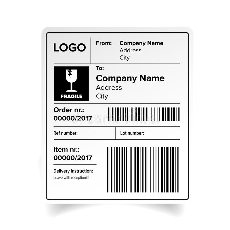 Shipping Label Template Stock Vector Illustration Of Packaging