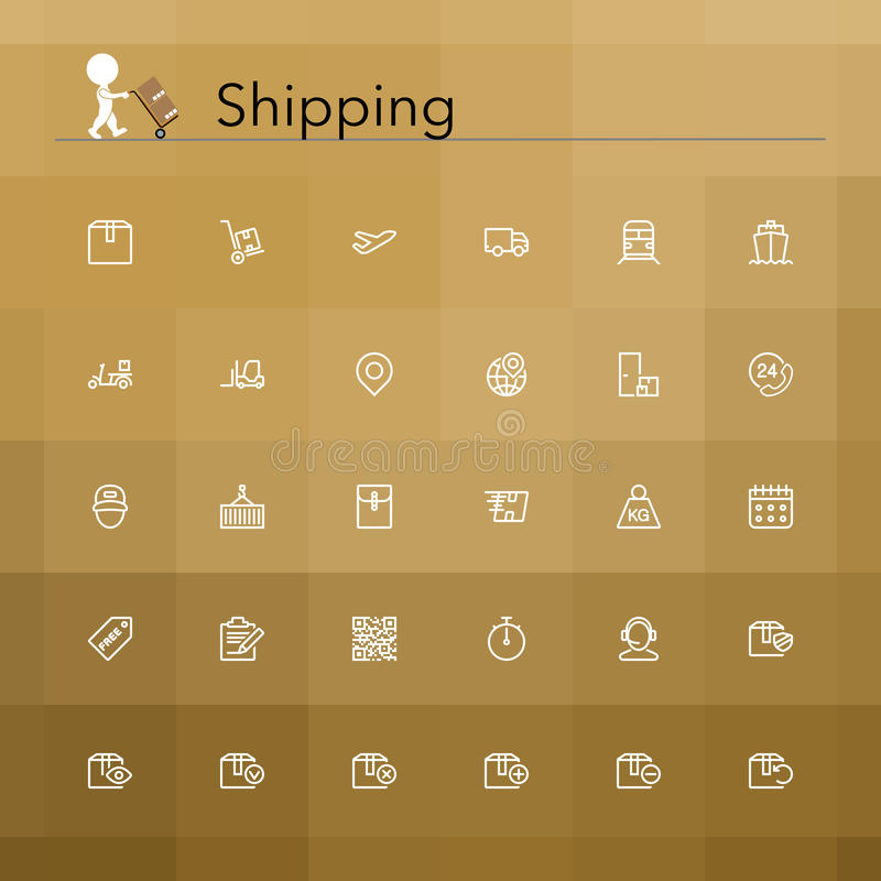 Shipping Line Icons royalty free illustration