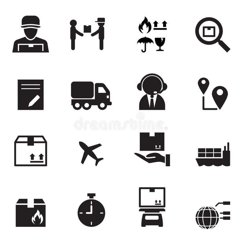 Shipping & Logistics icons set stock illustration