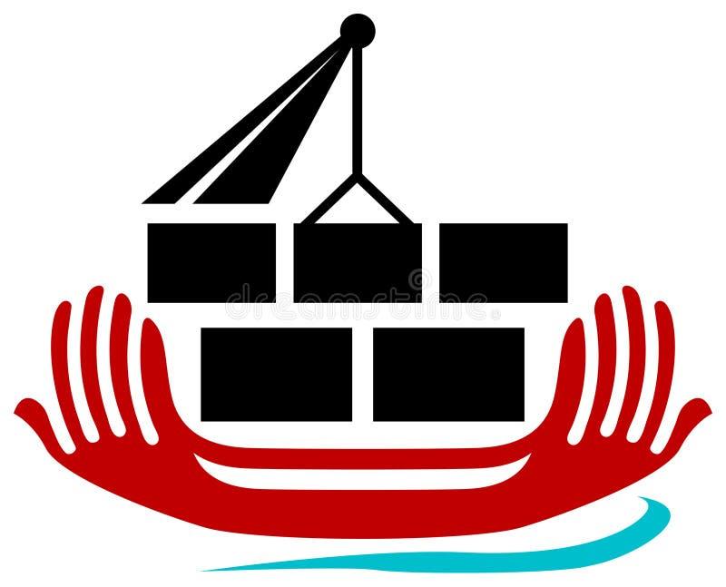 Shipping logo. Isolated line art shipping logo design vector illustration