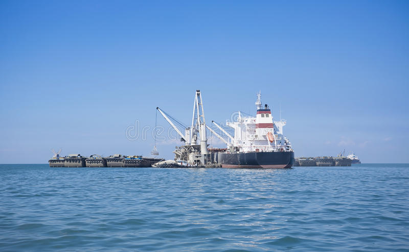 Shipping. Marine mining and shipping blue ocean of thailand gulf stock photography