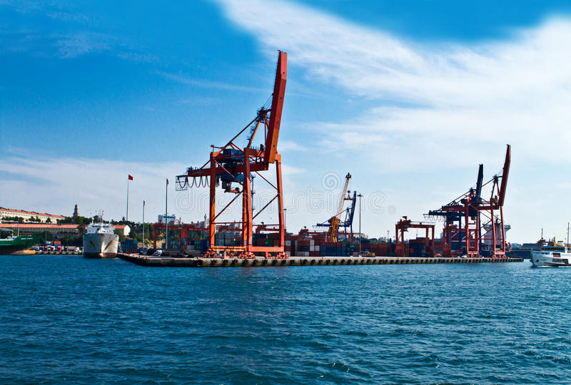 Shipping port and cranes. Shipping port with cranes and ships royalty free stock photo