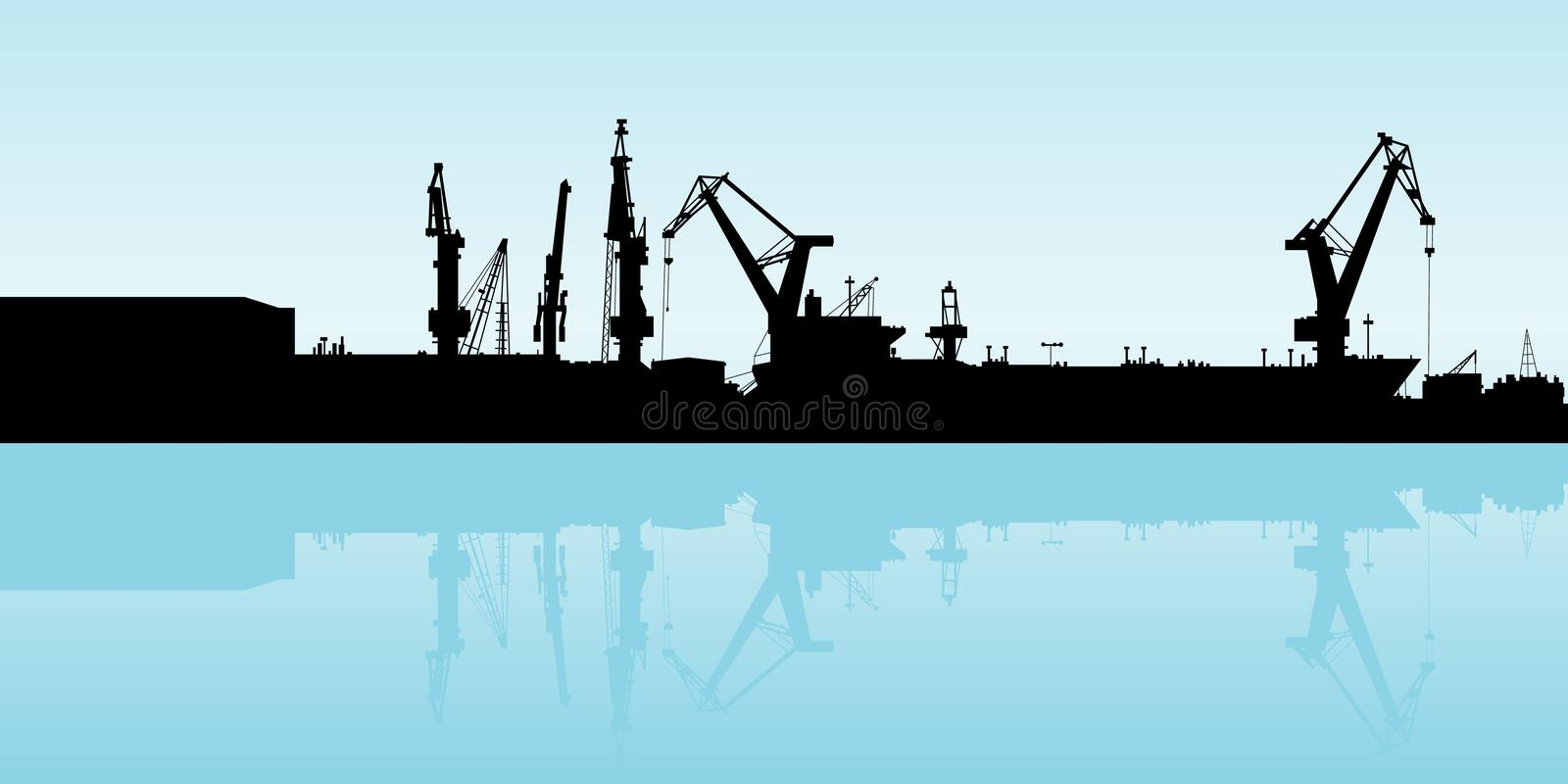 Shipping Port. Cranes working at the port in Veracruz, Mexico royalty free illustration