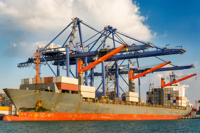 Shipping port and logistics terminal at daylight, Sea freight, B stock photo