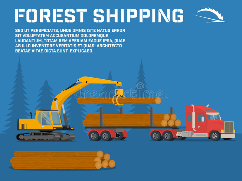 Shipping timber. Loading felled trees in the timber crane. On the basis of an excavator. Vector benner royalty free illustration