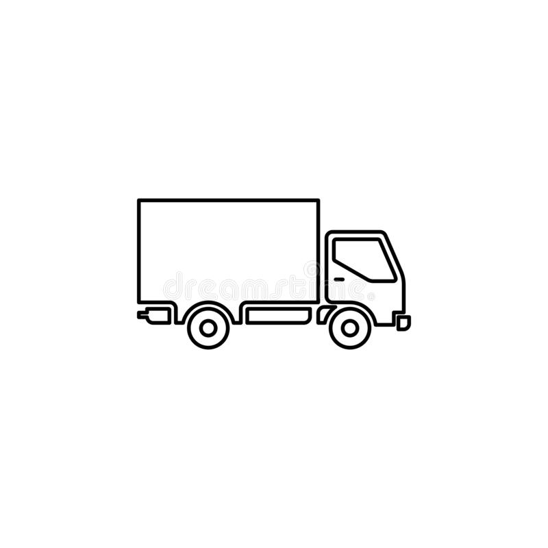 Shipping truck outline icon. vector illustration
