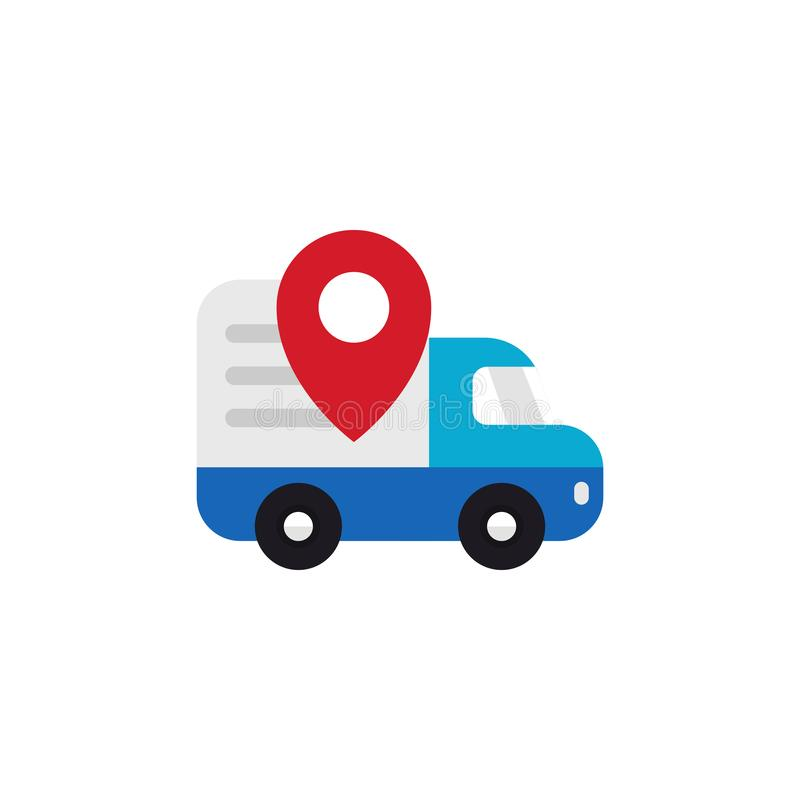 Shipping truck tracking icon design. Moving car with map pin locator illustration for courier delivery tracker symbol vector illustration