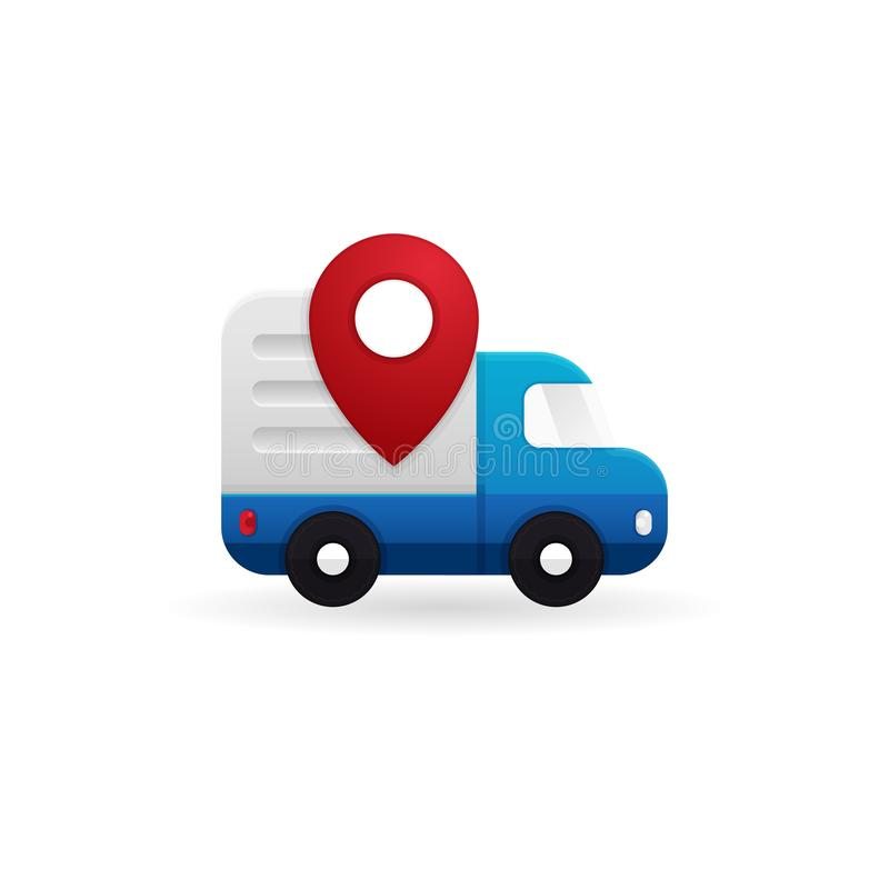 Shipping truck tracking icon design. Moving car with map pin locator illustration for courier delivery tracker symbol royalty free illustration