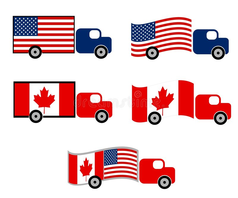 Shipping Trucks US Canada. An illustration featuring US and Canada theme shipping trucks in various styles using flags royalty free illustration