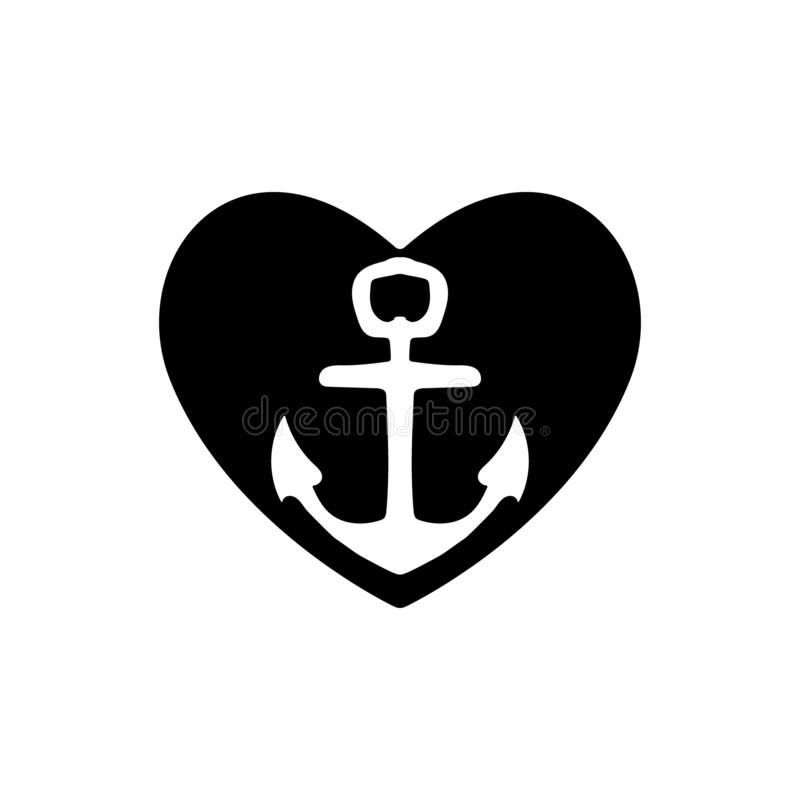 Ships anchor with a black heart symbolizing love and romance, a honeymoon or Valentines cruise or a love of boating and yachting, stock photos