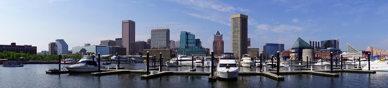 Ships in Baltimore inner harbor. Scenic area and downtown royalty free stock photography