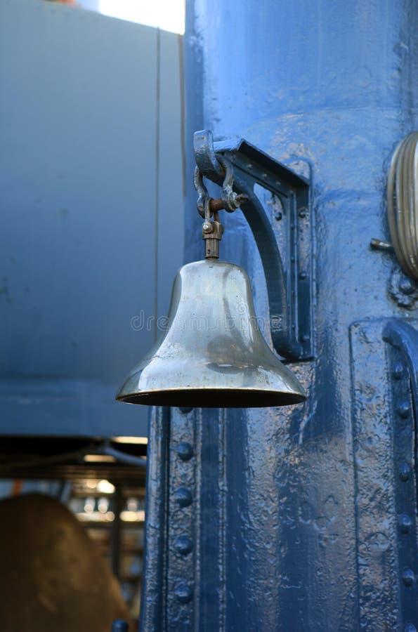 Ships bell on the cruiser Aurora, St. Petersburg stock image