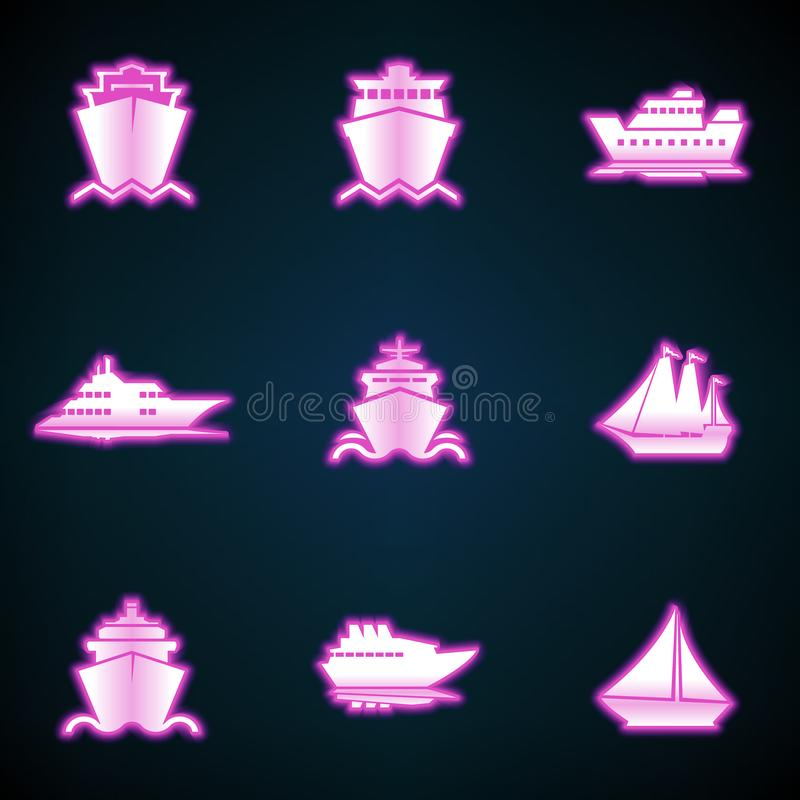 Ships, boats, cargo, logistics, transportation and shipping icons,glowing neon ui ux icon. Glowing sign stock illustration