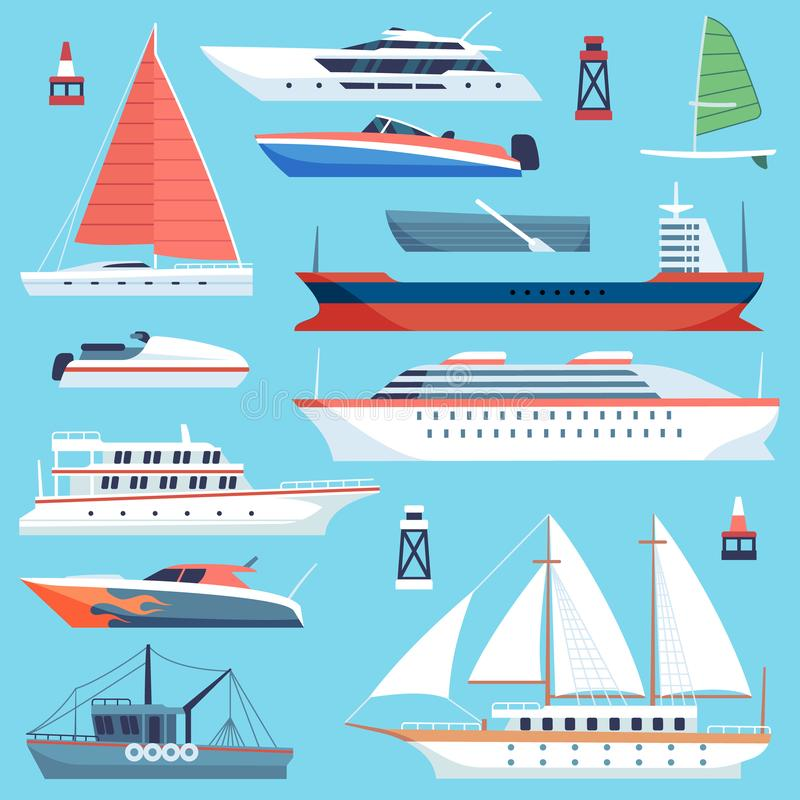Ships boats flat. Maritime transport, ocean cruise liner ship, yacht with sail. Large vessels cargo barge flat vector stock illustration