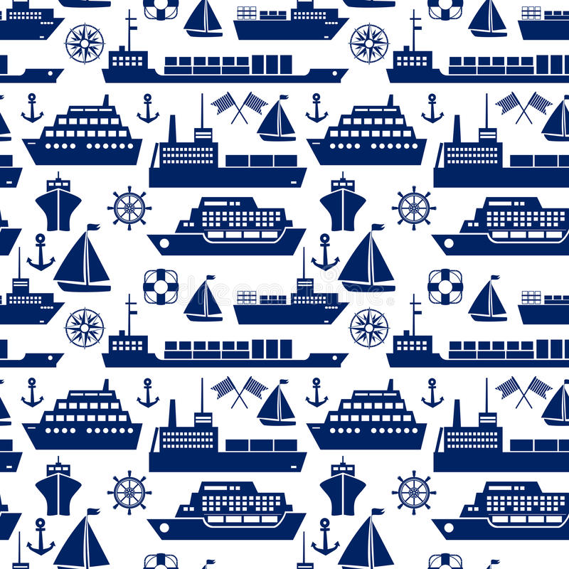 Ships and boats marine seamless background royalty free illustration