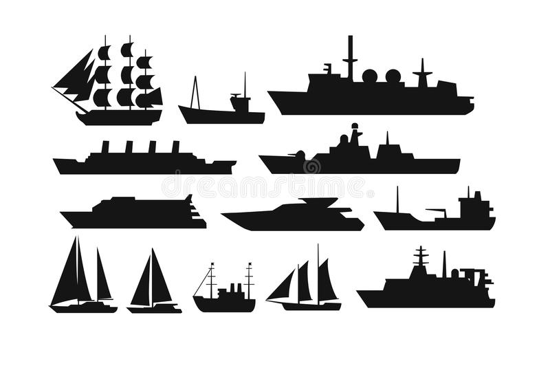 Ships and boats. Ship and boat icon set. Vector silhouette stock illustration