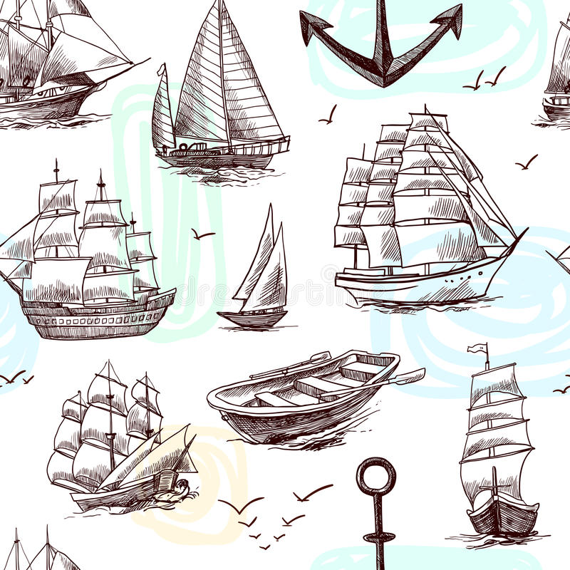 Ships and boats sketch seamless pattern vector illustration