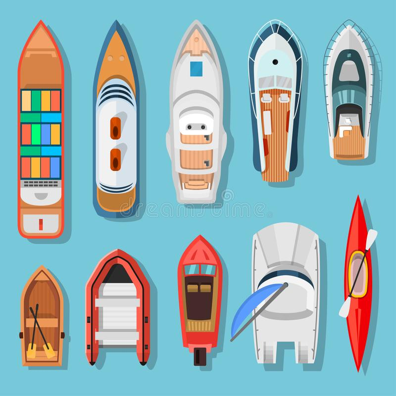 Ships and boats top view vector illustration