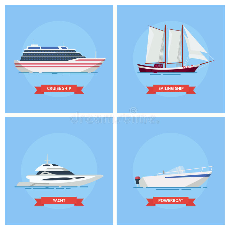 Ships and boats vector set icon in a flat style. royalty free illustration