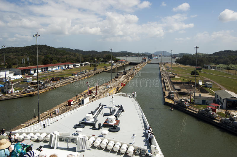 Ships bow in the Panama Canal crossing. stock images