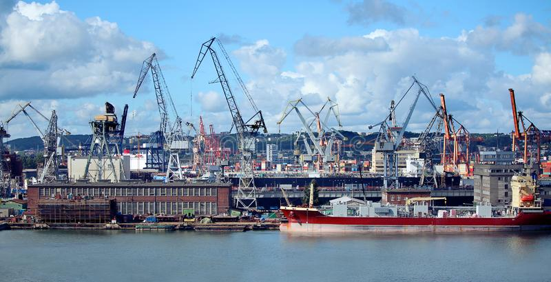 Ships and cargo cranes in Gdansk, Port of Poland stock photos