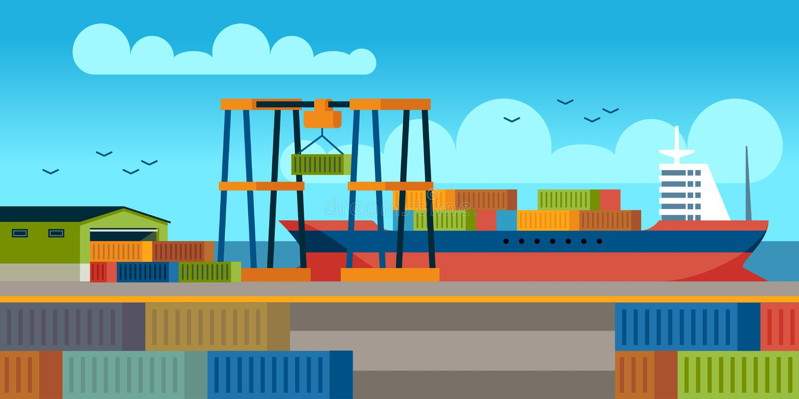 Ships in dock. Loading containers on cargo ship in seaport industrial terminal. Marine cargos transportation flat vector. Ships in dock. Loading containers on stock illustration