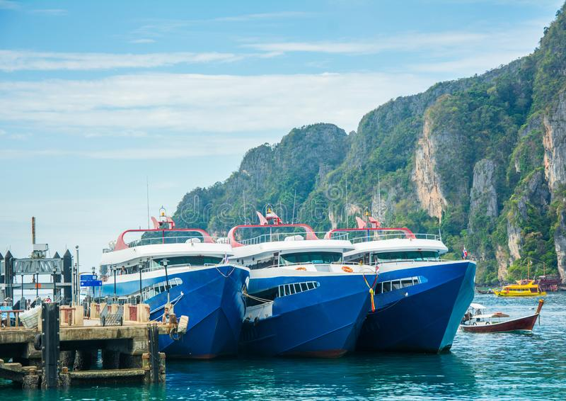 Ships docked at Phi Phi island royalty free stock images