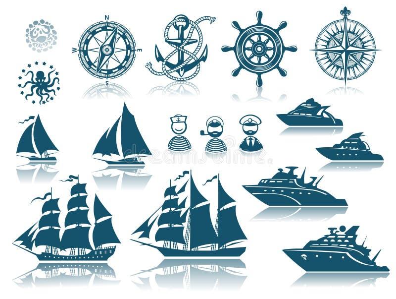 ships för kompassiconsetsegling vektor illustrationer