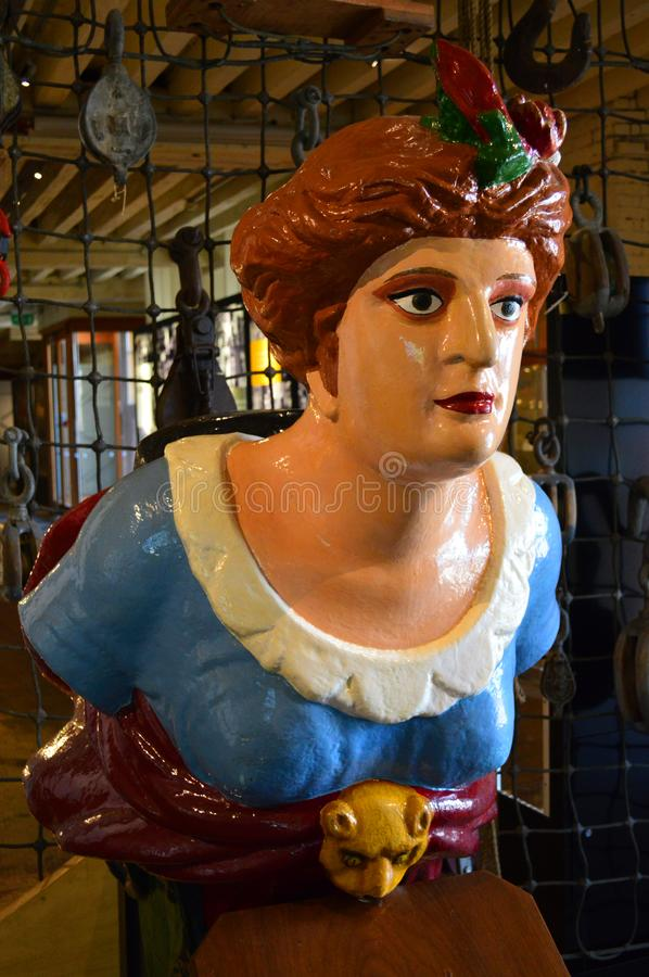 Ships figureheads at chatham. Historic Dockyard Kent stock photography
