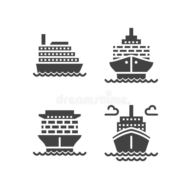Ships flat glyph icons. Cargo shipping tanker, sea trip , marine transportation vector illustrations. Solid silhouette stock illustration
