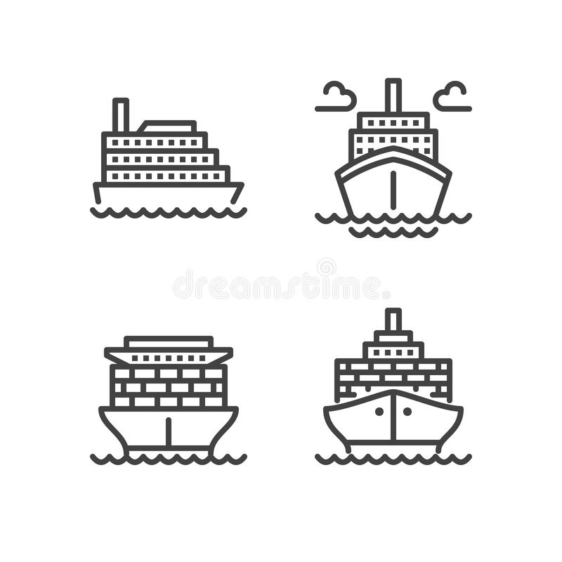 Ships flat line icons. Cargo shipping tanker, sea trip , marine transportation vector illustrations. Thin signs for stock illustration